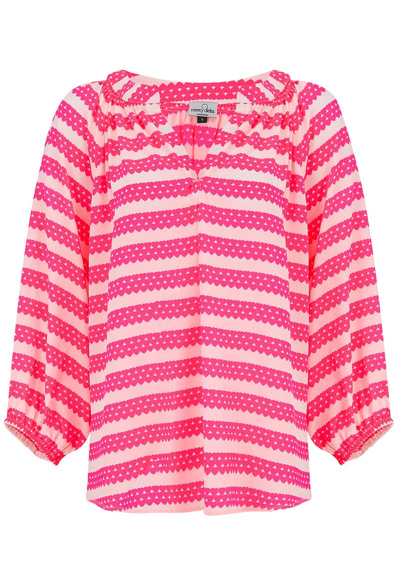 Mercy Delta Exclusive Clevedon Blouse - Neon Pink Hearts main image