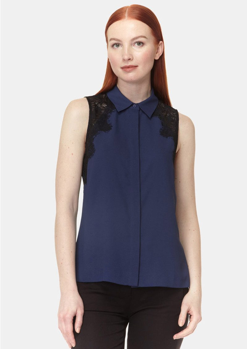 COOPER AND ELLA Vera Lace Shirt - Navy main image
