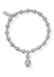 ChloBo Mini Small Ball Pineapple Bracelet - Silver