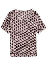 Maison Scotch Printed Blouse with Ladder Detail - Colour 17