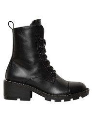KENDALL & KYLIE Park Biker Leather Boots - Black