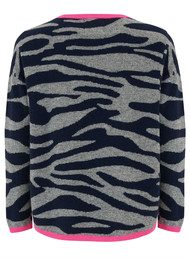 JUMPER 1234 Tipped Tiger Crew - Grey, Navy & Neon Pink