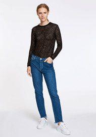 SAMSOE & SAMSOE Tracy Long Sleeve Lace Top - Black