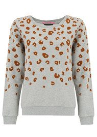 Maison Scotch Flock Leopard Sweater - Grey