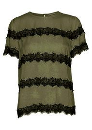 CUSTOMMADE Yan Lace Top - Dark Olive
