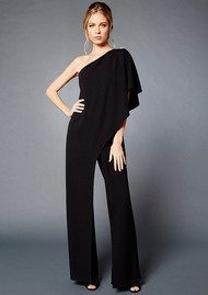 ADRIANNAPAPELL One Shoulder Jumpsuit - Black