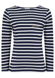 MAISON LABICHE Bonjour Long Sleeve Stripe Tee - Blue & White