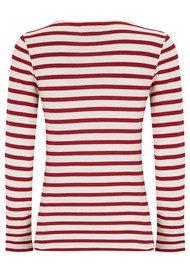 MAISON LABICHE Libellule Long Sleeve Stripe Tee - White & Bordeaux