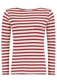 MAISON LABICHE Superstar Long Sleeve Stripe Tee - White & Bordeaux