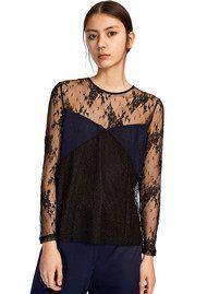 SAMSOE & SAMSOE Camilla Long Sleeve Lace Top - Black
