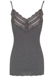 Rosemunde Wide Lace Strap Top - Dark Grey Melange