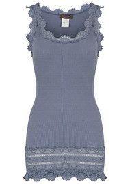 Rosemunde Wide Lace Silk Blend Vest - Flint Blue
