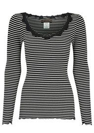 Rosemunde Long Sleeve Silk Blend Top - Black & Ivory Stripe