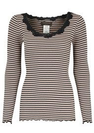 Rosemunde Long Sleeve Silk Blend Top - Atmosphere & Black Stripe