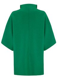 HARRIS WHARF Kimono Mantle Coat - Grass Green
