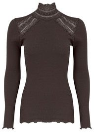 Rosemunde Turtleneck Silk Blend T-shirt - Raven