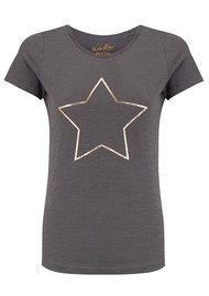 ON THE RISE Star Tee - Grey & Rose Gold