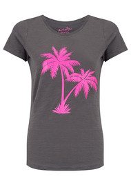 ON THE RISE Palm Tree Tee - Grey & Pink