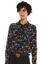 Essentiel Oquip Frilled Placket Silk Blouse - Deep Well
