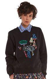 Essentiel Onegara Sequin Embroidered Sweater - Black