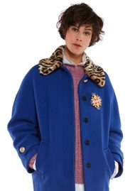 Essentiel Omensa Oversized Cocoon Coat - Monaco Blue