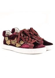 Ash Nak Arms Velvet Embellished Trainers - Bordeaux