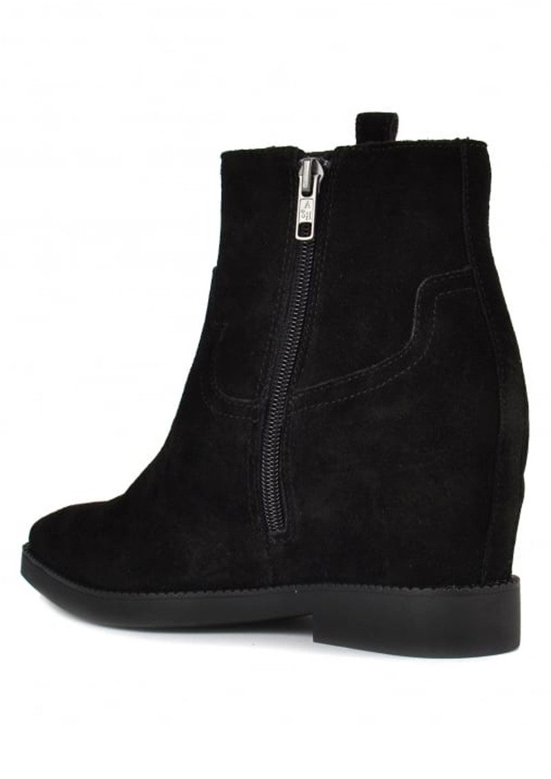 ash goldie wedge suede ankle boot black