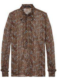 Maison Scotch Ruffle Leopard Blouse with Neck Tie - Colour 17