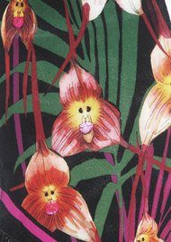 ROCKINS Monkey Orchid Classic Skinny Fringed Scarf - Black