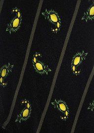 ROCKINS Lemon Paisley Classic Skinny Fringed Scarf - Black