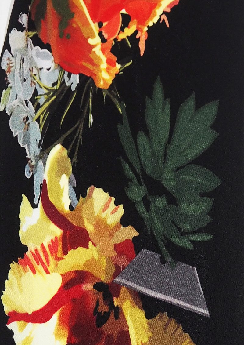 ROCKINS Flora Classic Skinny Fringed Scarf - Black main image