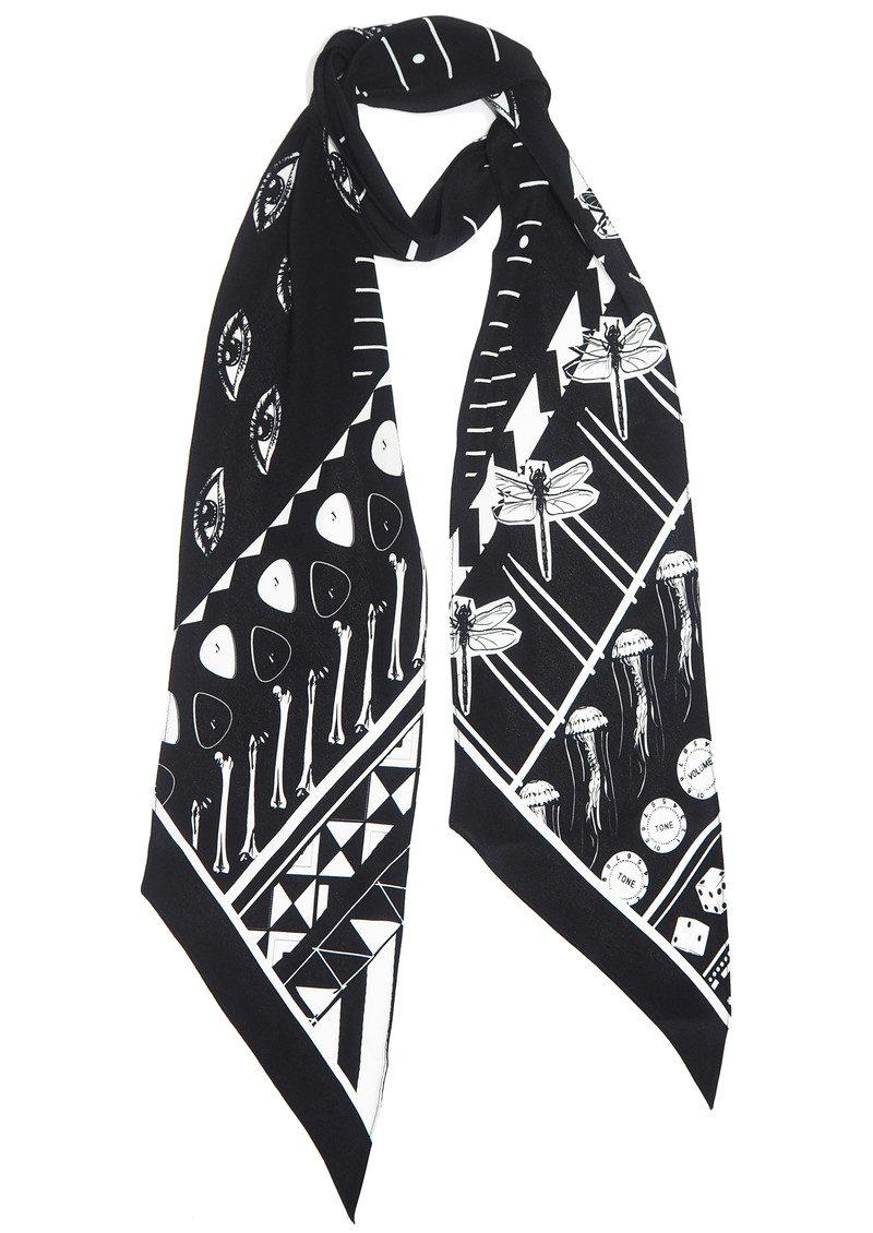 ROCKINS Classic Skinny Silk Scarf - Black main image