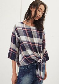 Great Plains Charlotte Check Knot Detail Top - Multi Check