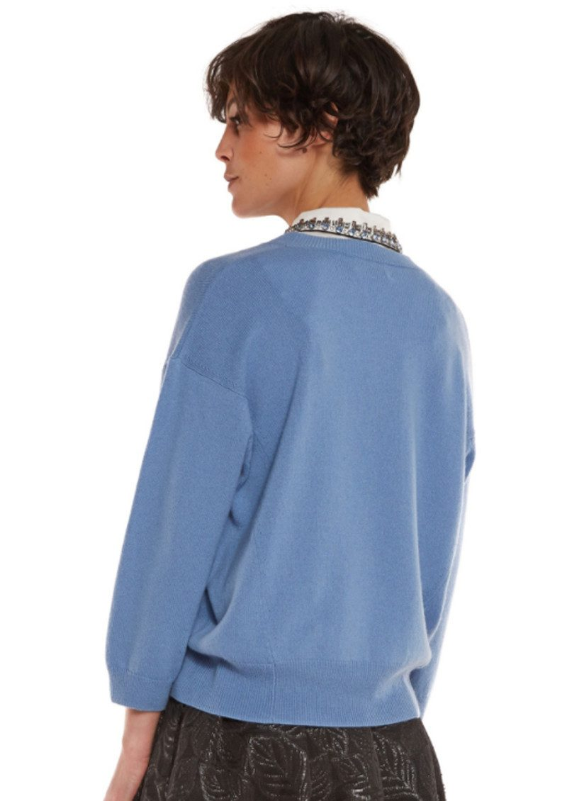 Essentiel Ofisho Knitted Sweater & Detachable Embellished Collar - Grey Blue main image