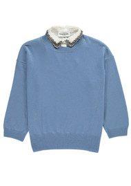 Essentiel Ofisho Knitted Sweater & Detachable Embellished Collar - Grey Blue