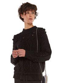 Essentiel Ostille Textured Drawstring Sweater - Black