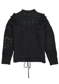 Essentiel Ostille Textured Drawstring Sweater - Black