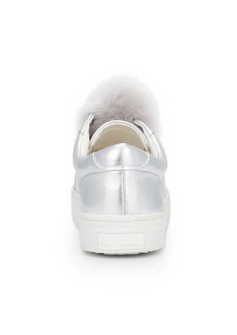 0f18d6de3c490 Sam Edelman Leya Faux Fur Pom Pom Trainers - Soft Silver