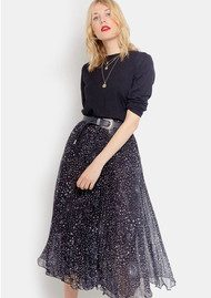 Lily and Lionel Pleated Midi Skirt - Celeste Black