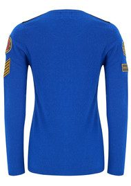 ABSOLUT CASHMERE Military Badge Sweater - Electric Blue