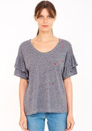 SUNDRY Ruffle Mini Heart Tee - Heather Grey