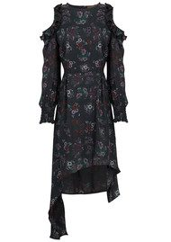 SPACE STYLE CONCEPT Drop Sleeve Floral Dress - Black Floral