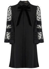 SPACE STYLE CONCEPT Spot Velvet Sleeve Dress - Black