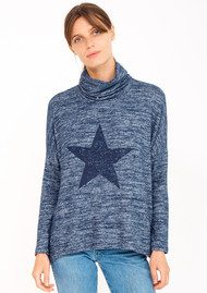 SUNDRY Star Turtleneck Sweater - Heather Marine