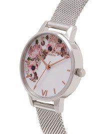 Olivia Burton Midi Signature Florals Mesh Watch - Silver