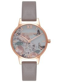 Olivia Burton Midi Signature Floral Watch - London Grey & Rose Gold