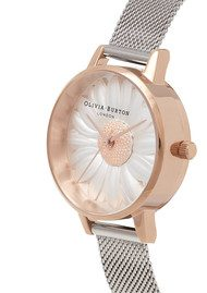 Olivia Burton 3D Daisy Mesh Watch - Rose Gold & Silver