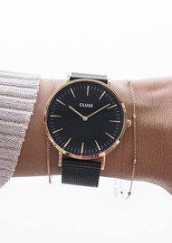 CLUSE La Boheme Mesh Watch - Black & Rose Gold