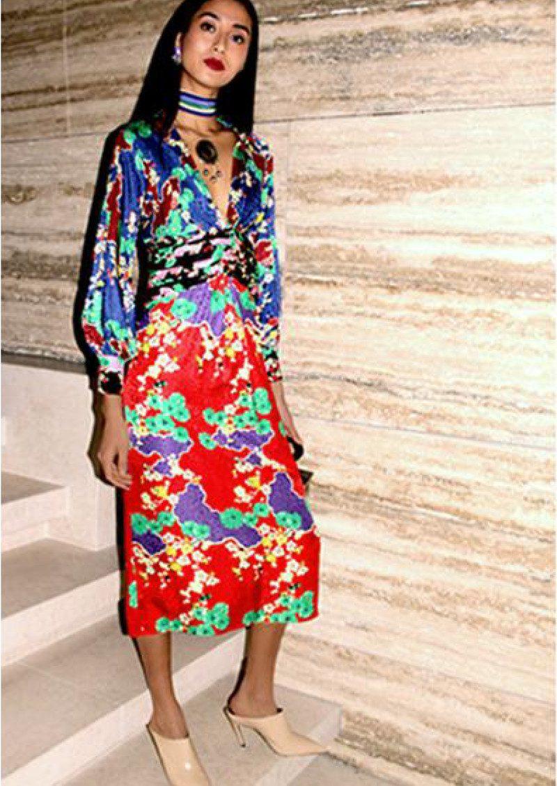 5bc45ba1966 RIXO London Fedora Midi Blouson Sleeve Dress - Mixed Cherry Blossom