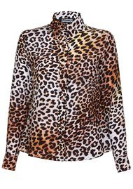 ROCKINS Classic Silk Shirt - Natural Leopard